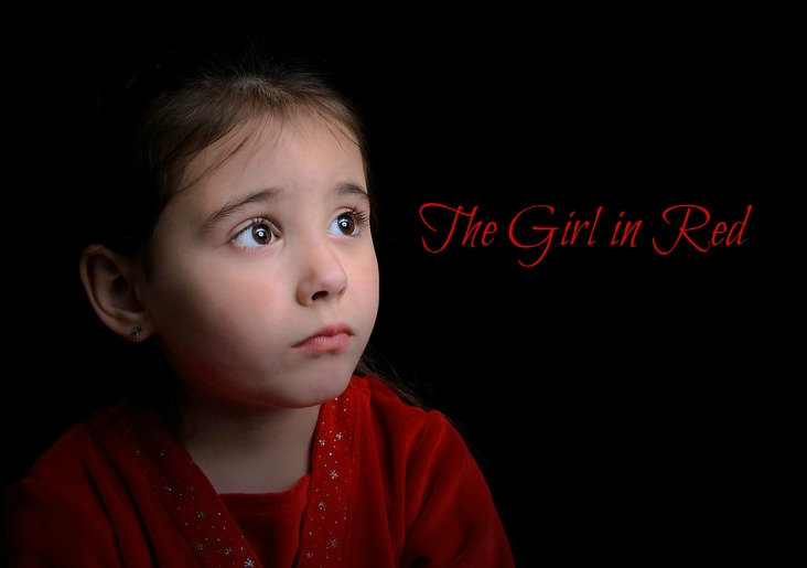 beautiful child sad-Lgirl in red
