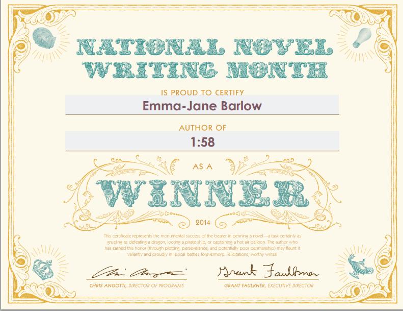 winner certificate nanowrimo 2014